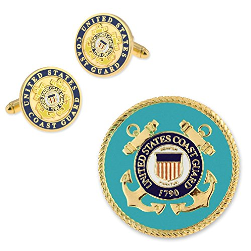 PinMart Gold USCG Coast Guard Enamel Lapel Pin & Cufflink Military 2 Pc (Guard Lapel Pin)