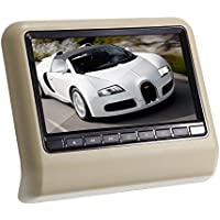 Ouku New Sytle 9 Headrest Pillow Slot-In Car DVD Player with FM Transmitter/IR/USB/SD/Wireless Game Beige Tan (1 Piece)