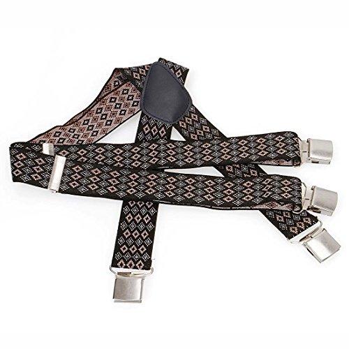 Bundle Monster 4pc Jacquard Weave Design X-Back Adjustable Clip Unisex Suspender by Bundle Monster (Image #2)