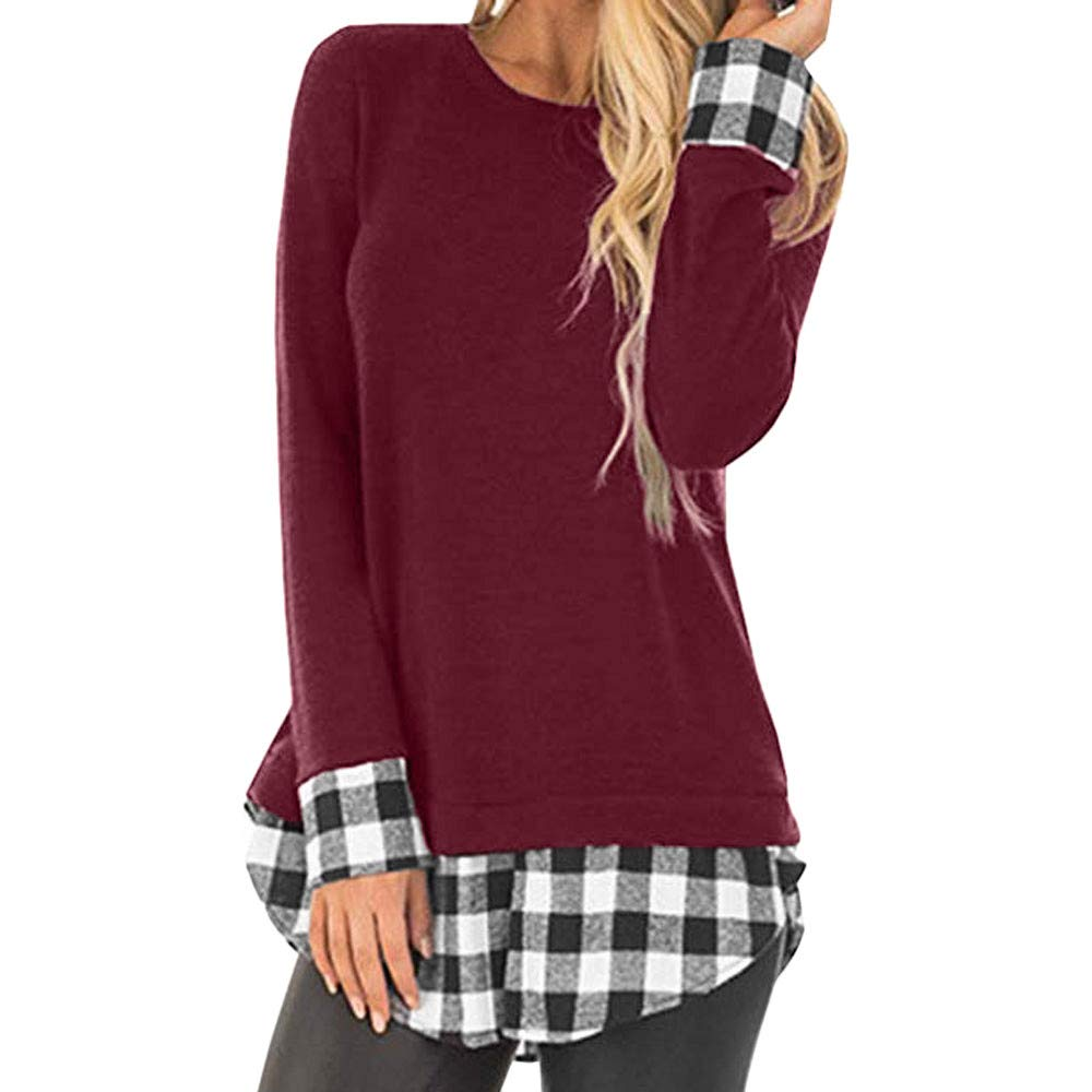 Women Plaid Blouse, Vanvler Ladies Patchwork Shirt Long Sleeve Tunic Tops Casual Vanvler -Women Sweaters