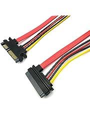 Duttek - Câble d'extension SATA de 50cm - 22broches (7+ 15) - Câble SATA mâle vers femelle - Câble d'extension d'alimentation et de données