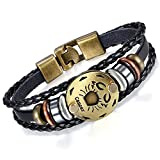 Young & Forever Men's Black Leather Multi-Strand Bracelet