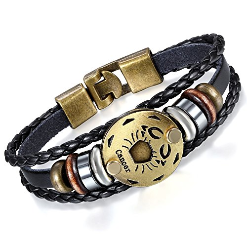 Young & Forever Men's Black Leather Multi-Strand Bracelet by Young & Forever