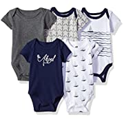 Hudson Baby Baby Infant Cotton Bodysuits, Sailboat 5 Pack, 0-3 Months