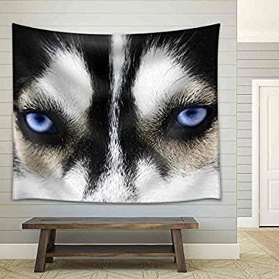 Gorgeous Object of Art, Quality Artwork, Close Up on Blue Eyes of a Dog Fabric Wall