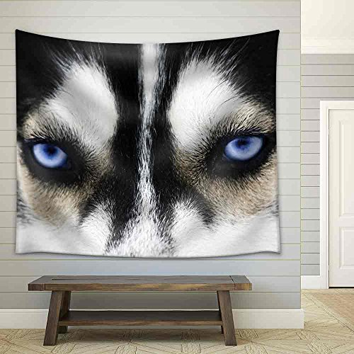 Close Up on Blue Eyes of a Dog Fabric Wall