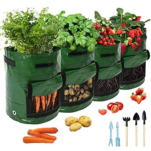 Pflanzsack Kartoffeln, 2 STK 10 Gallonen Und 2 STK 7 Gallonen Gartengemüse Pflanztasche mit Griffen Und Sichtfenster Klettverschluss, Wiederverwendbar Pflanzbeutel, Geschenk 5-teilige Gartengeräte