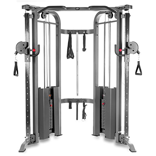 XMark Functional Trainer Cable Machine with Dual 200 lb Weight Stacks, 19 Adjustments, and Accessory Package XM-7626 (Gray) (Best Lat Exercises At Home)