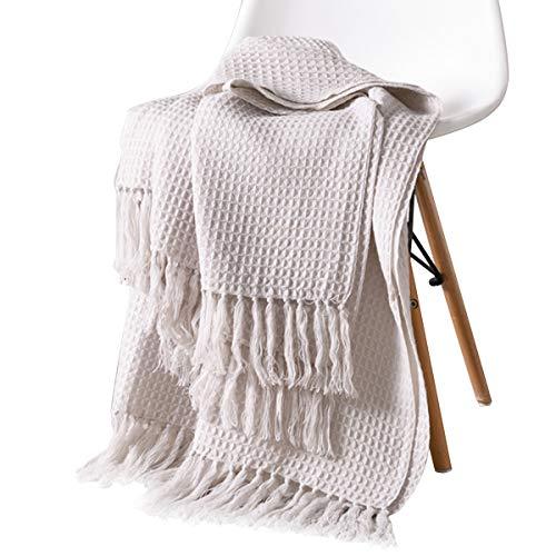 - Sue&Joe Knit Throw Blanket - Beige Soft Couch Sofa Decorative Warm Cozy Nap Tassel Waffle Weave Blanket, 50