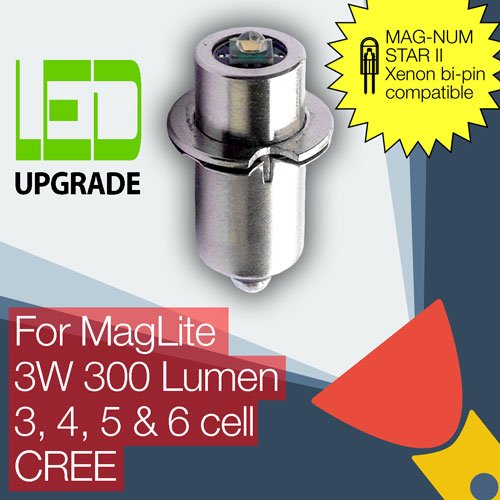 MagLite LED Conversion/upgrade bulb for MAG-NUM STAR II bi-pin MagLite Torch/flashlight 3D/3C, 4D/4C, 5D, 6D Cell CREE XP-G2