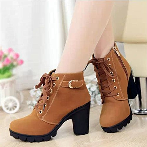KINDOYO Womens Ladies Mid Chunky Block Heel Chelsea Low Ankle Boots Gussets Platform Faux Lace-Up Shoes Yellow Y9IkxPF5