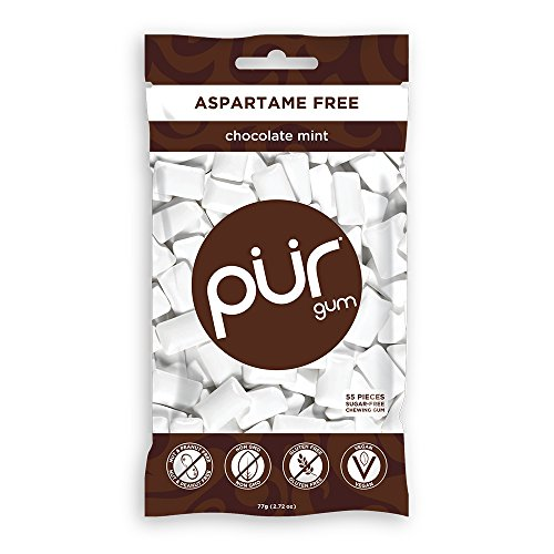 The PUR Company | Sugar-Free + Aspartame-Free Chewing Gum | 100% Xylitol | Chocolate Mint | Vegan + non GMO | 55 Pieces per Bag