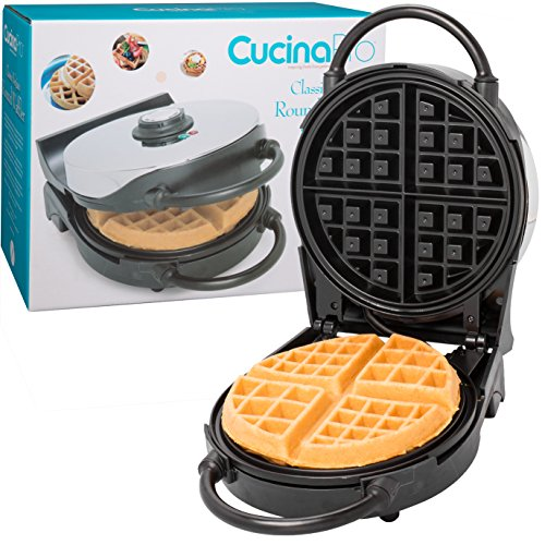 "Belgian Waffle Maker- Non-Stick 7.5"" Waffler Iron w Patented Ready Beep and Adjustable Browning Control"