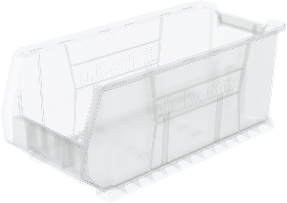 Akro-Mils 30287 Super-Size AkroBin Heavy Duty Stackable Storage Bin Plastic Container, (24-Inch L x 11-Inch W x 10-Inch H), Clear, (4-Pack)