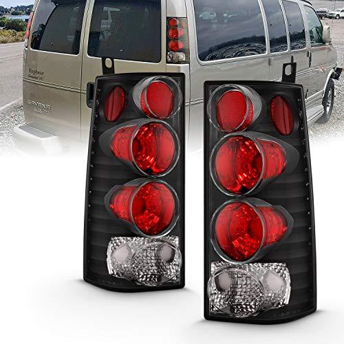 AmeriLite Black Replacement Brake Tail Lights Set for Chevy Express GMC Savana Van - Passenger and Driver Side