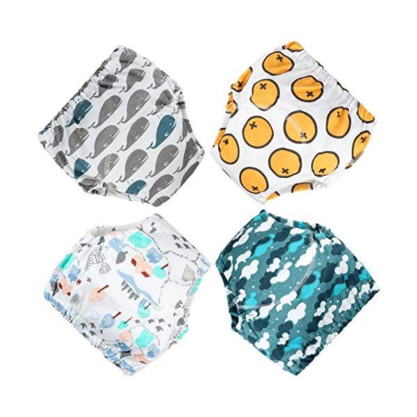 Flyish - Mutande per imparare a usare il vasino, per bambini e bambine da 1 a 4 anni, confezione da 4 Ragazzi. 12 Mesi 1