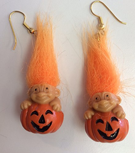 (Halloween Troll Pumpkin Earrings w/ Orange Hair Russ)