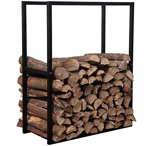 MyGift Black Metal Powder Coated Finish Firewood Holder Rack/Indoor & Outdoor Fireplace Log Bin
