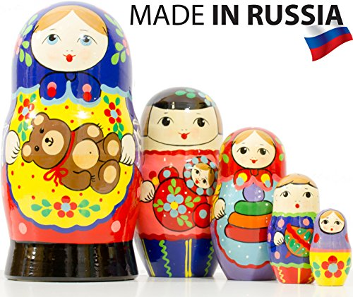 """Russian Nesting Doll - """"Russian Country Kids"""" - Hand Painted in Russia - 8 color/size variations - Wooden Decoration Gift Doll - Traditional Matryoshka Babushka (6.75`` (5 dolls in 1), Design A Blue)"""