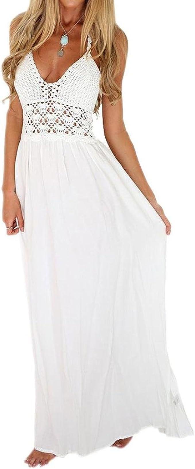 Weißes Häkeln Strickkleid Goosun Boho Rückenfrei A-Linie Neckholder Kleid  Lange Strandkleid knöchellange Maxikleid Sommerkleider Schulterfreies