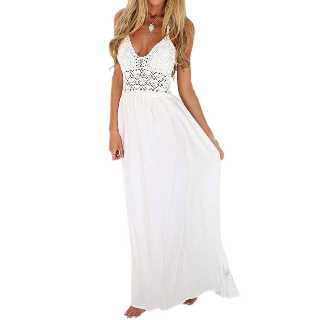 FUNIC Women's Crochet Backless Boho Style Halterneck Evening Party Maxi Long Dresses (S, White)