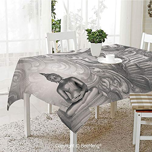 - BeeMeng Large dustproof Waterproof Tablecloth,Family Table Decoration,Asian,Silver Ornamental Background Ancient Old Oriental Culture Monochromatic Image Art Print Decorative,Grey,70 x 104 inches