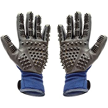 Pet Grooming Gloves | Hair Remover Brush for Dogs, Cats & Horses with Long or Short Fur | Rubber Mitt Comb for Relaxing, Deshedding & Bath | Adjustable | One Pair Left & Right + eBook