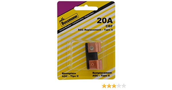 Amazon.com: Bussmann (BP/CBF-20-RP) 20 Amp CBF Type-II Circuit Breaker for Glass Fuse Panel: Automotive