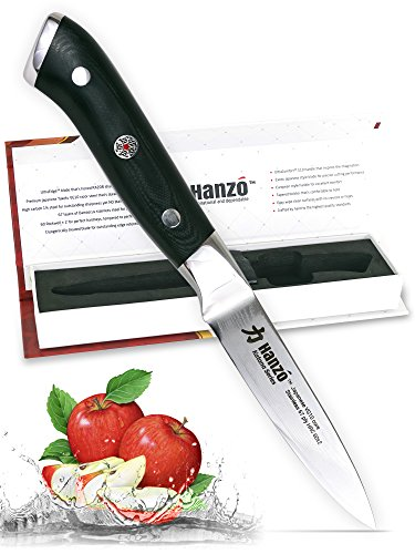 HANZO Paring Professional Chef Knife - 3.75 inch Katana Series - 67 ply Japanese VG10 steel - G10 Military Grade Custom Contoured Handle – Outstanding handling and edge retention