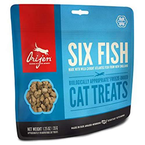 Orijen Freeze-Dried Cat Treats, Six Fish, Biologically Appropriate & Grain Free, 1.25 Ounces -