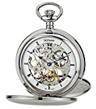 Gotham Men's Silver-Tone Mechanical Pocket Watch with Desktop Stand # GWC18804S-ST