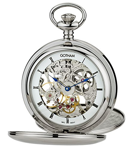 Gotham-Mens-Silver-Tone-Double-Cover-Exhibition-Mechanical-Pocket-Watch-GWC18804S