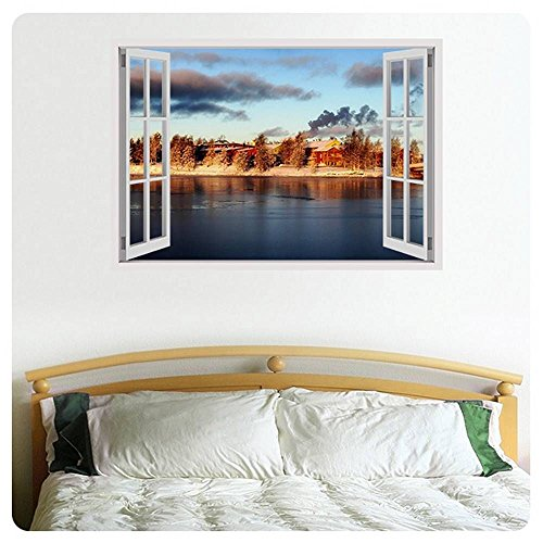 Alonline Art - Icy Winter Island Fake 3D Window Poster Prints Rolled Print on Fine Photo Paper cm For Bedroom Posters For Kitchen For Living Room