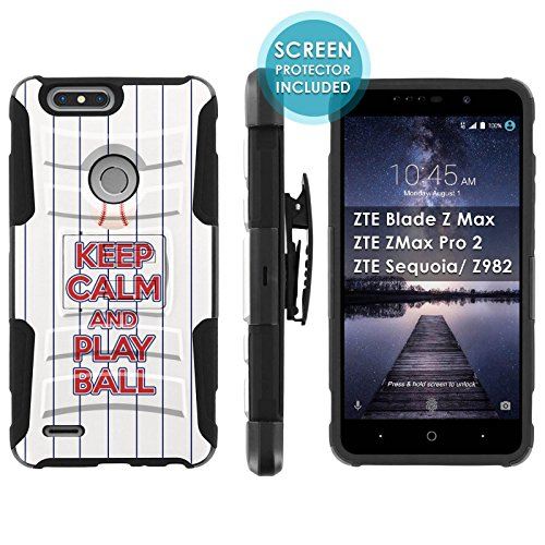 [Mobiflare] Armor Case for ZTE Blade Zmax Pro 2/ZTE Sequoia [Black/Black] Blitz Armor Phone Case with Holster [Screen Protector INCLUDED] - [Play Ball - Texas] ()