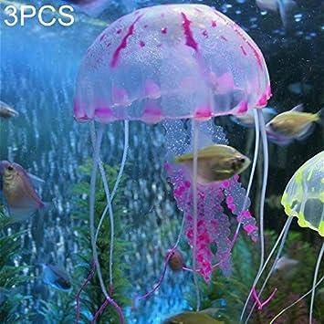 Happy grocery shop Interesante 3 PCS Artículos para acuarios Decoración Fuerte fijación Simulación de Silicona Fluorescente Sucker Jellyfish, ...