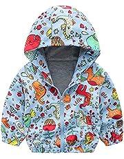Little Boys Dinosaur Printed Jacket Coat, Cartoon Zipper Hoodies Hooded Jackets, Breathable Mesh Lined Windbreaker for Toddler Kids 2-8 Years