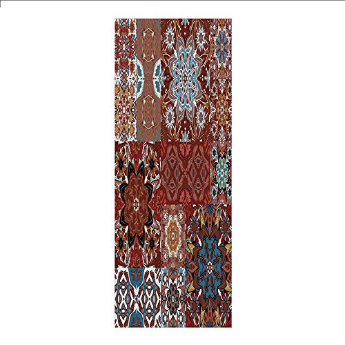 Decorative Privacy Window Film/Eastren Deity Inspired Lady doing Yoga Motif on Bohemian Grungy Look Backdrop Print/No-Glue Self Static Cling for Home Bedroom Bathroom Kitchen Office Decor Red Beige