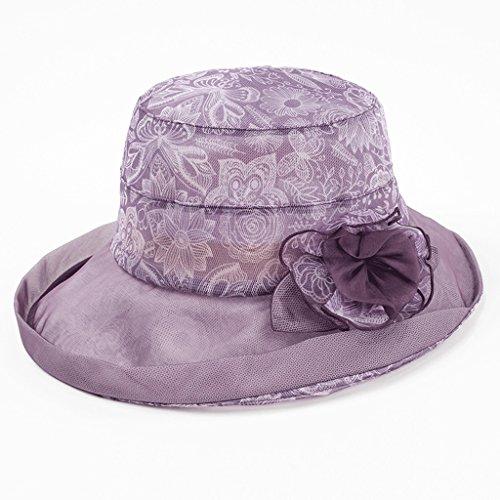 Lo Purple Purple La color De Largo Plegable Solar Junto Sombrero Playa Seda Protector Zhaoshunli Sunhat Playa A ZHazzS
