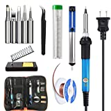Soldering Iron Kit Electronics 60W, 110V Adjustable Temperature Solder Iron Welding Tool Kit, Desoldering Pump, Soldering removal wick, 5pcs Soldering Iron Tip, Stand, Lead free Solder Wire, Tweezer