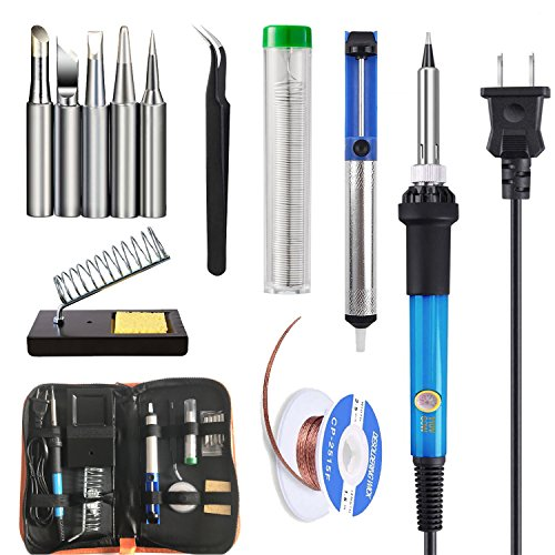 (Soldering Iron Kit Electronics 60W, 110V Adjustable Temperature Solder Iron Welding Tool Kit, Desoldering Pump, Soldering removal wick, 5pcs Soldering Iron Tip, Stand, Lead free Solder Wire, Tweezer)