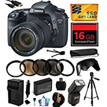 Canon EOS 7D 18 MP CMOS Digital SLR Camera with 18-135mm f/3.5-5.6 IS UD Lens includes 16GB Memory + Flash + Extra Battery + Travel Charger + Lens Hood + UV-CPL-FL-ND4-10x Macro Filters + Card Reader