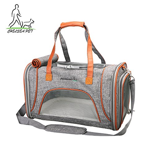 Pet Carrier Airline Approved Under Seat for Small Dogs & Cats , Soft Sided Tote with Fleece Puppy Bedding & Safety Lock