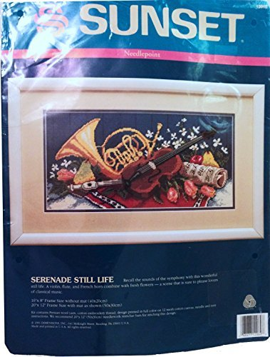 - Sunset Needlepoint Kit 12069 Serenade Still Life Musical Scene with Violin, French Horn, Flute, Flowers, and Fruit 1991
