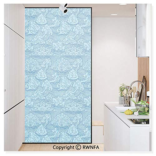 Price comparison product image RWN Film Window Films Privacy Glass Sticker Ocean Waves Eastern Chinese Art Abstract Curls Stripes Static Decorative Heat Control Anti UV 30In by 59.8In