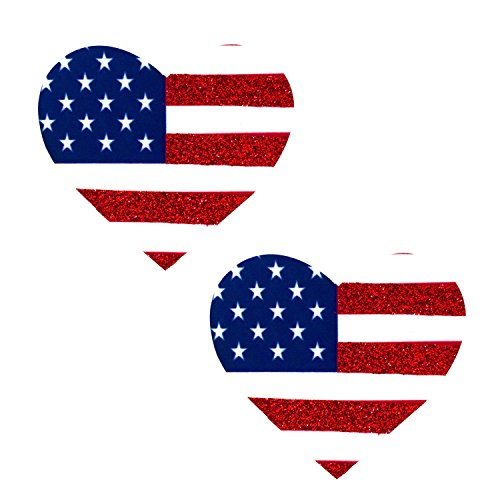 Glitter Heart Blue (Neva Nude Patriotic Red White and Blue Glitter Heart Pasties Nipple Covers)