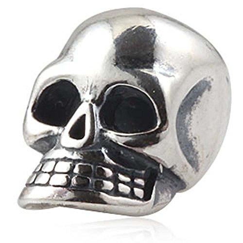 Skull Charm 925 Sterling Silver Christian Charm Pirate Charm Halloween Charm for Pandora Bracelet (A) (Silver Skull Bead Sterling)