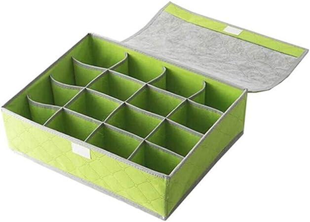 iTemer bonito organizador de ropa interior sujetador cajones caja de almacenaje contenedores 16 Grids para calcetines, ropa interior, sujetador, pañuelos y cuello corbatas (verde): Amazon.es: Hogar