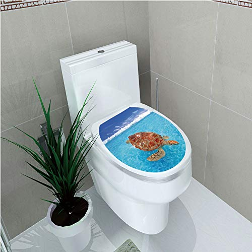 Toilet Cover Decoration,Turtle,Sea Turtle Chelonia Mydas on Water Surface Caribbean Beach Tropics,Violet Blue Aqua Light Brown,3D Printing,W12.6
