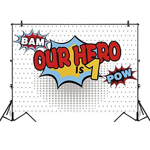 Allenjoy 7x5ft Thin Vinyl Superhero Backdrop OUR HERO IS ONE