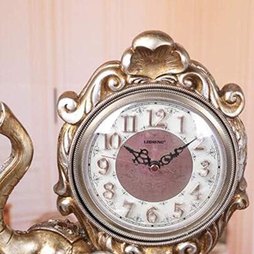 KUQIQI ヨーロッパの時計テーブルベッドサイドエレファントクロッククリエイティブシッティングクロッククリエイティブデスククロックファッションサイレントカウンタートップベッドクロックダークブラウンブロンズ (Color : Bronze)